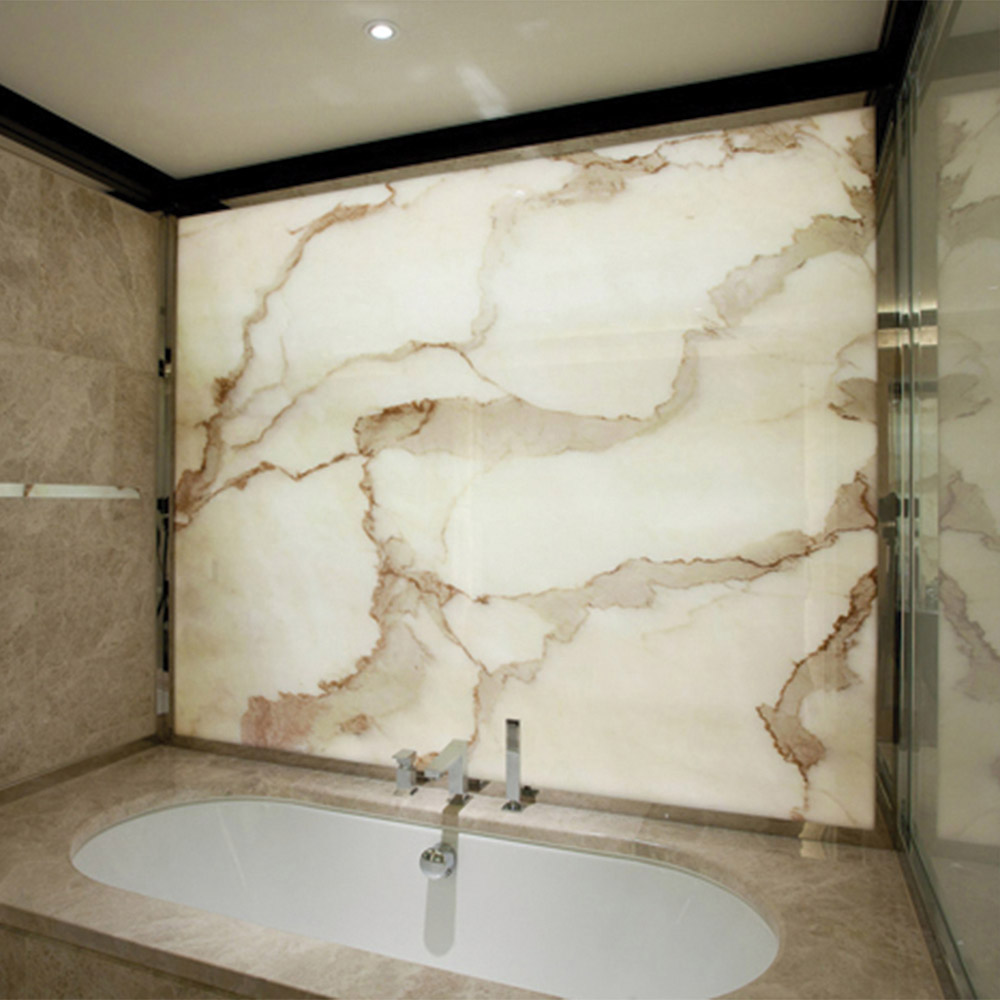 backlit onyx image glass bathroom panel