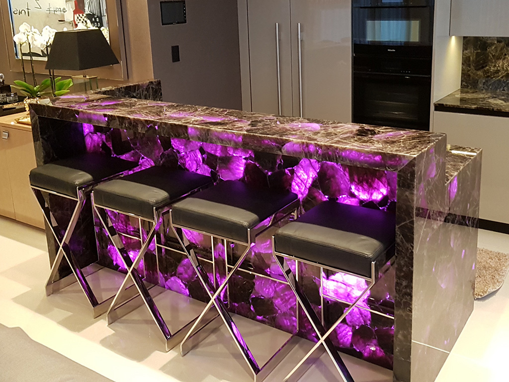 Backlit stone kitchen unit