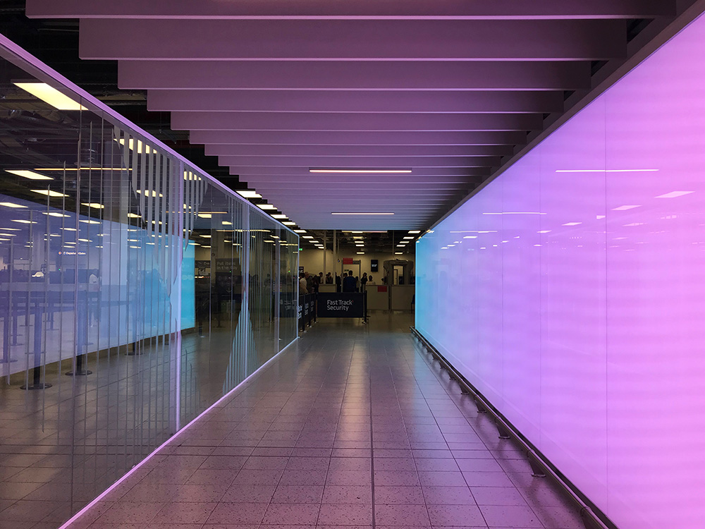 Luton Airport backlit LED feature wall by Spanlite