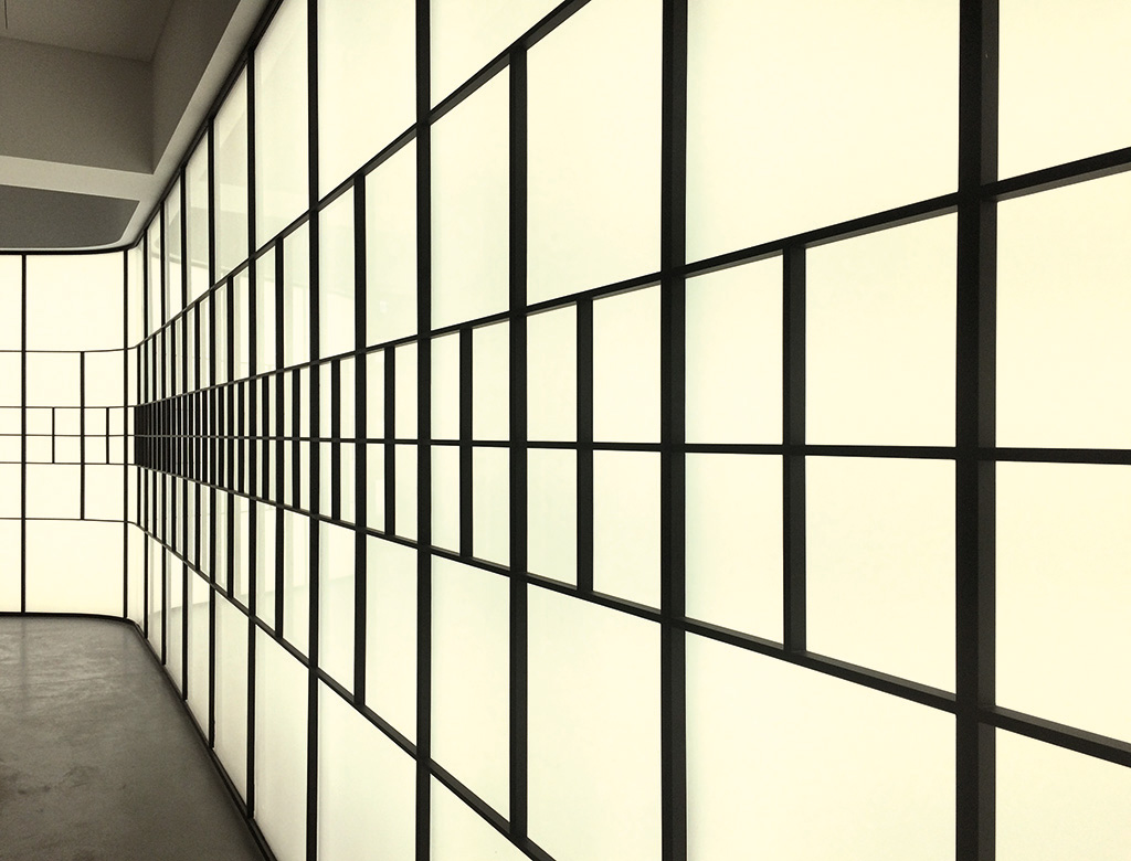 Backlit steel and glass feature wall, Minerva House