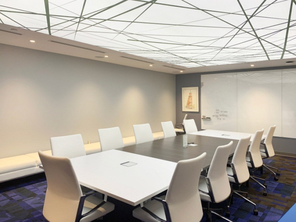 stretch-fabric boardroom ceiling lighting