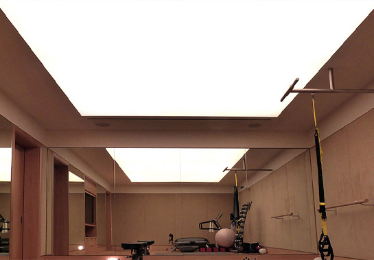 Stretch-Fabric diffuse ceiling lighting